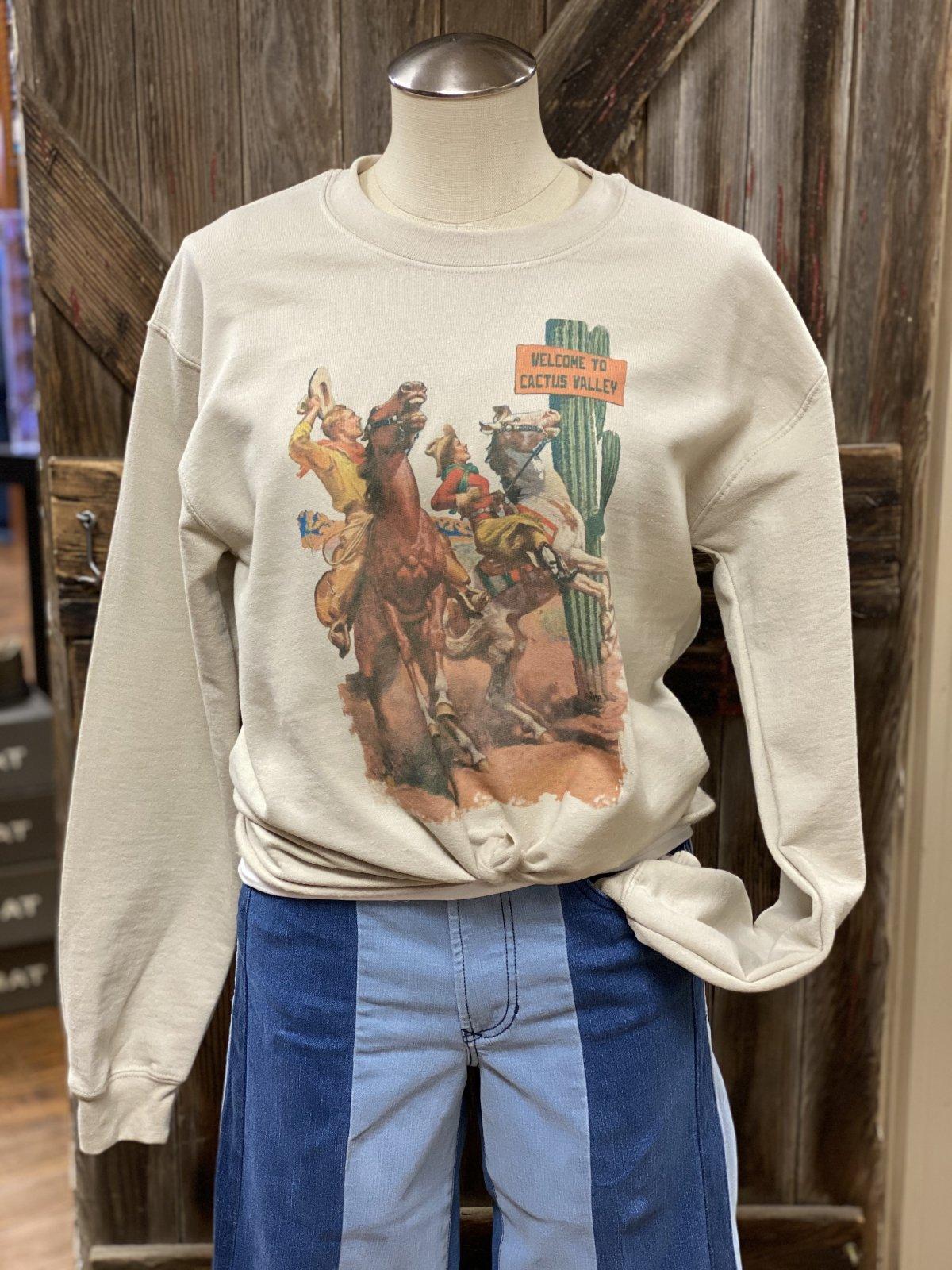 Welcome to Cactus Valley Tie Front Sweatshirt