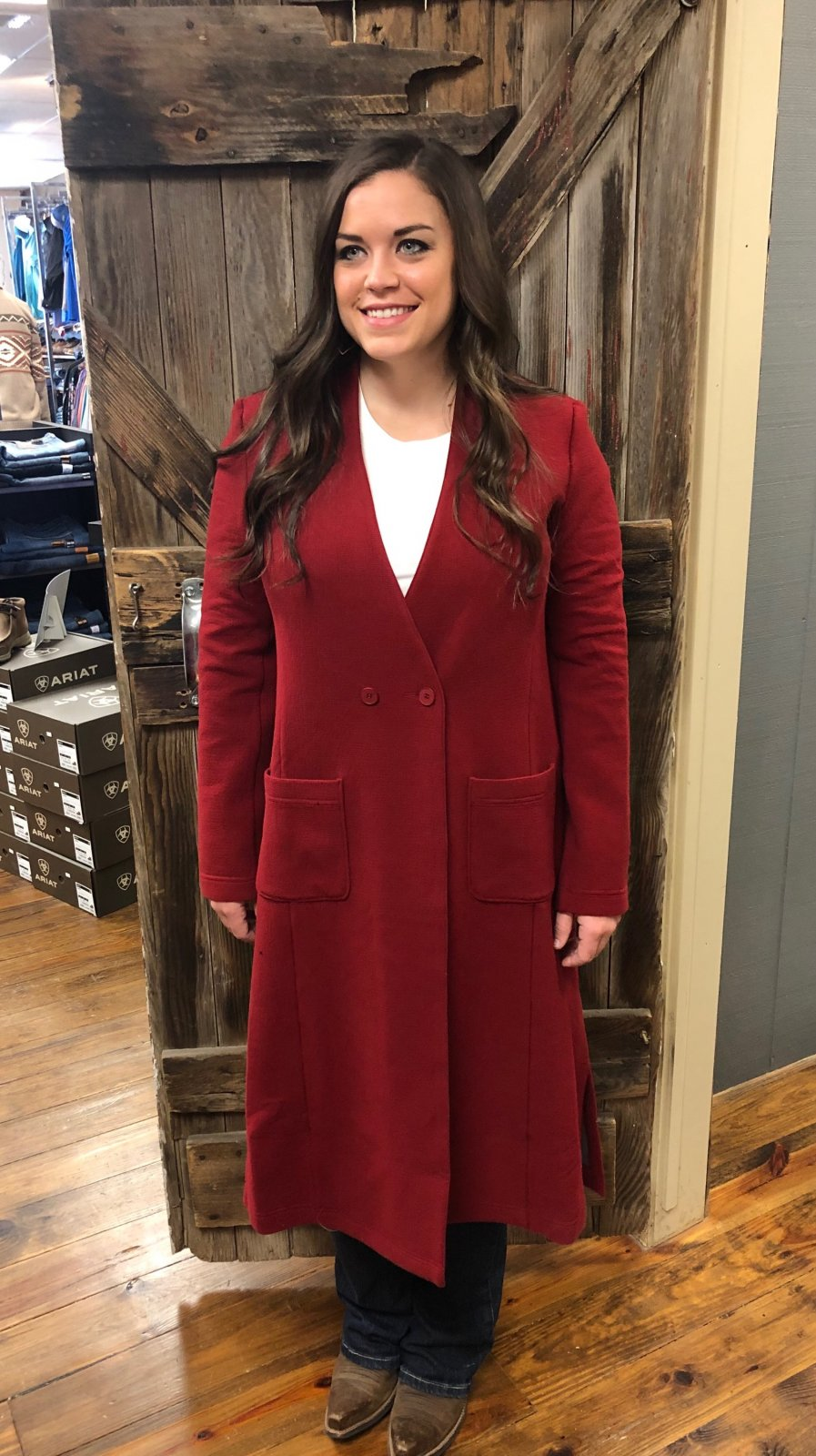 Long Red Sweater Coat from Symphony + Note