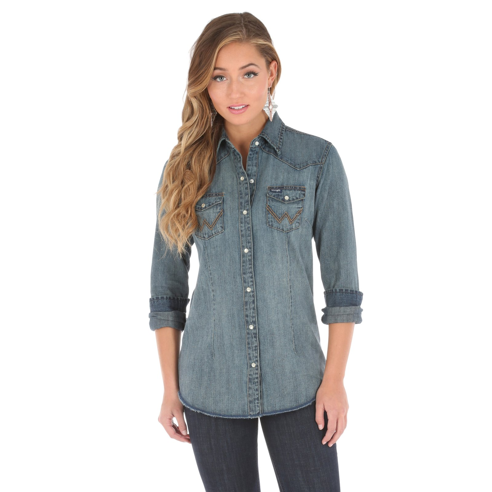 Women's Long Sleeve Denim Shirt from Wrangler