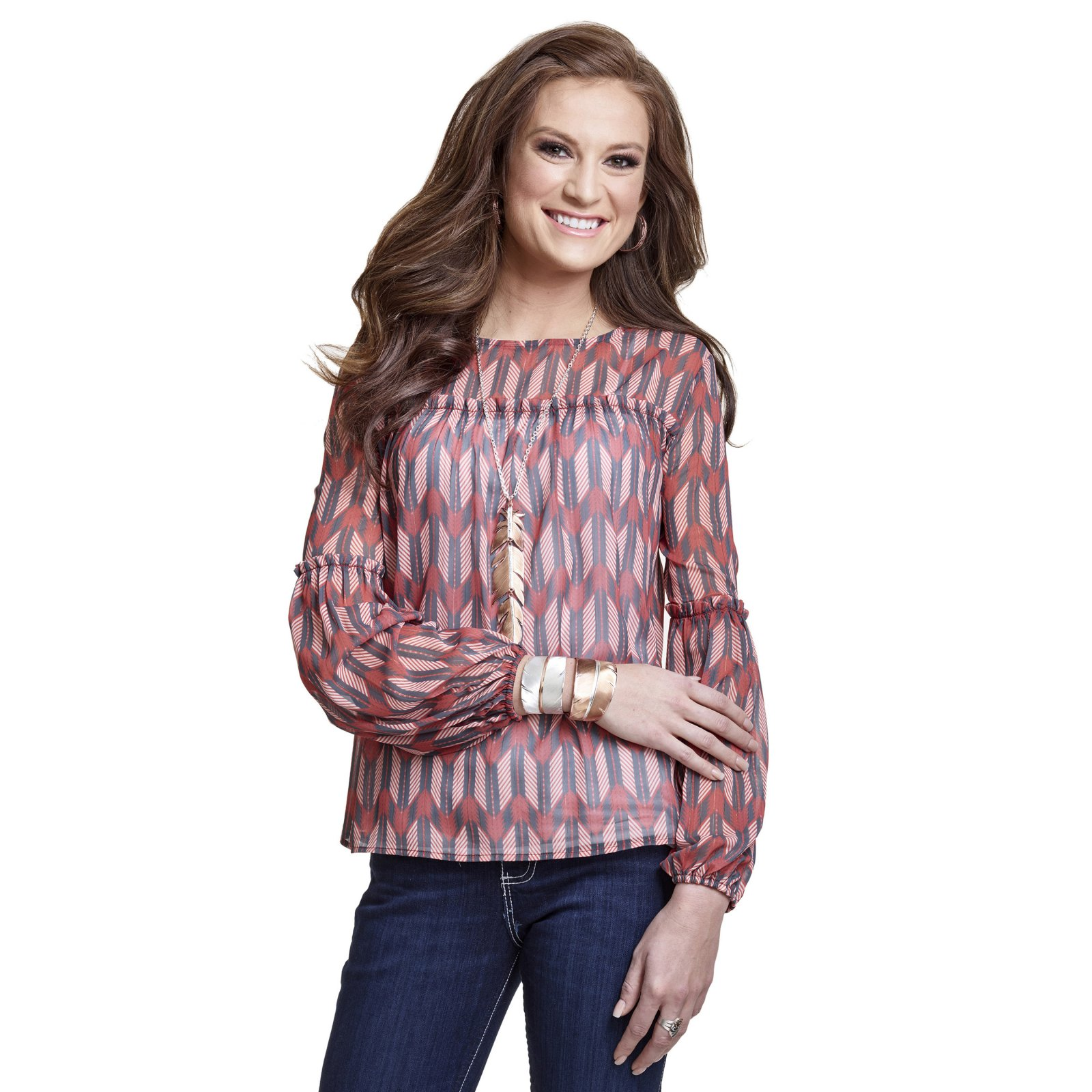 Arrow Print Chiffon Top from Wrangler