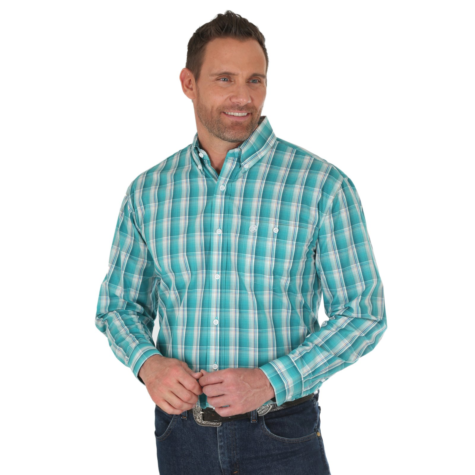 Men's Classic Long Sleeve Plaid Shirt from Wrangler