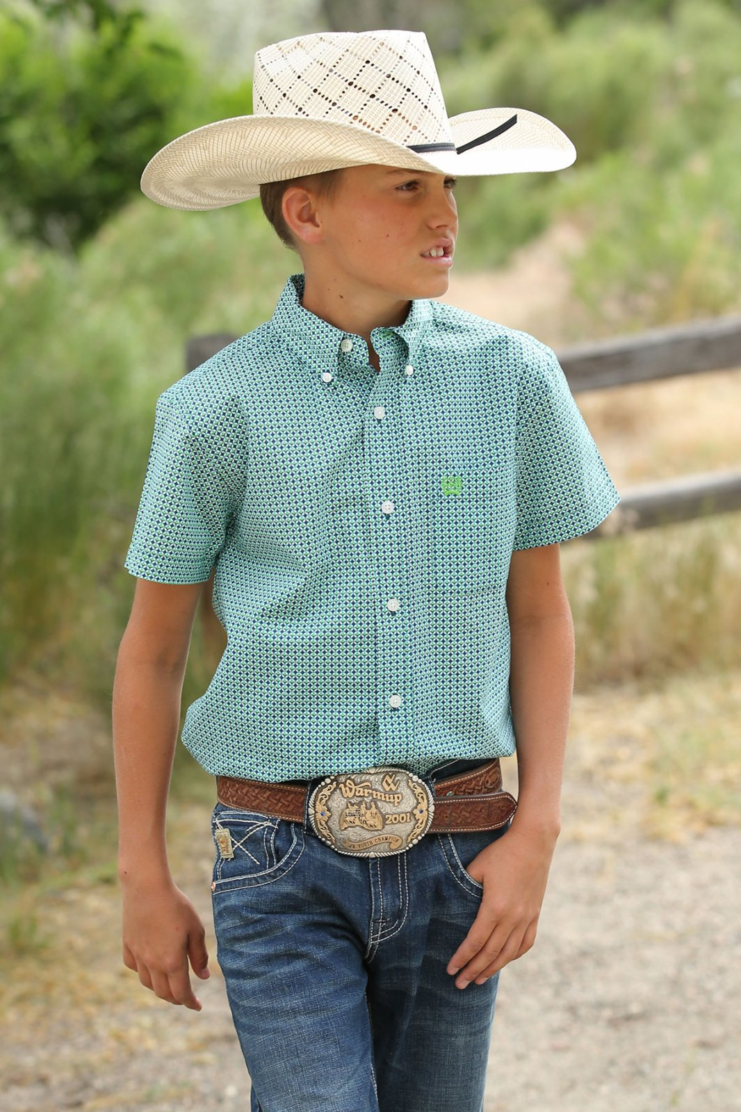 Short Sleeve Printed Woven from Cinch