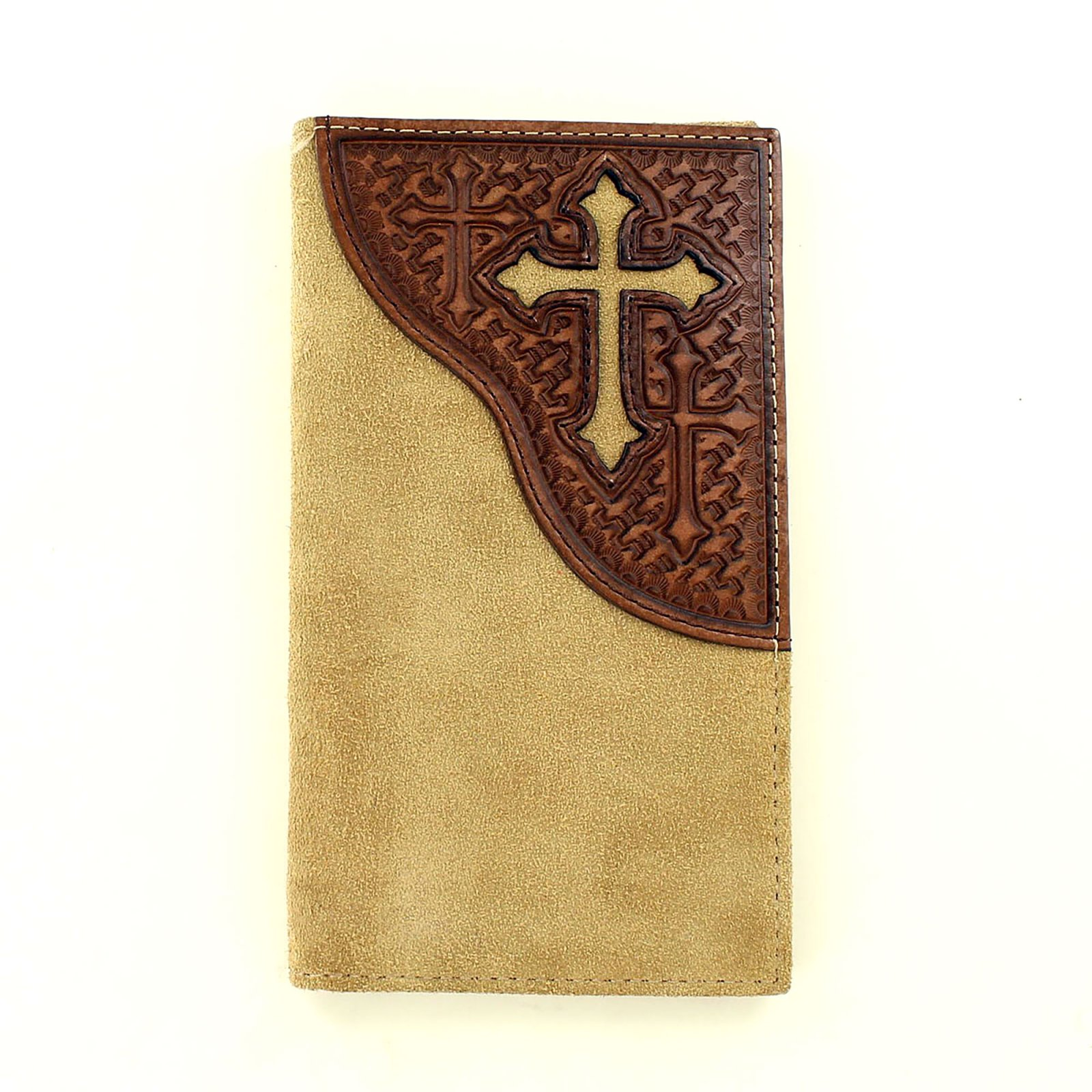 Rodeo Wallet - Roughout Finish with Cross Design