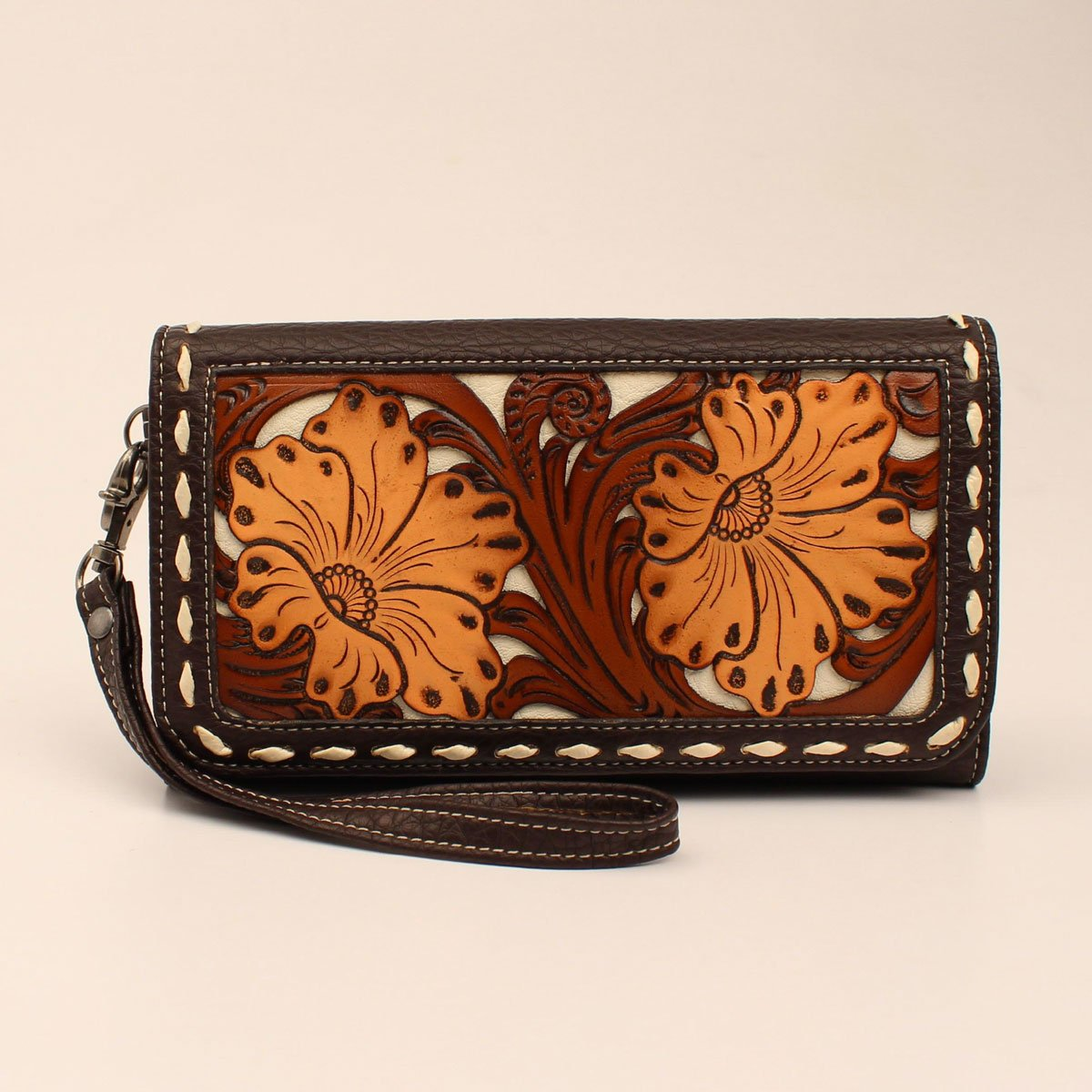 Clutch Foldover Wallet with Floral Tooled Front