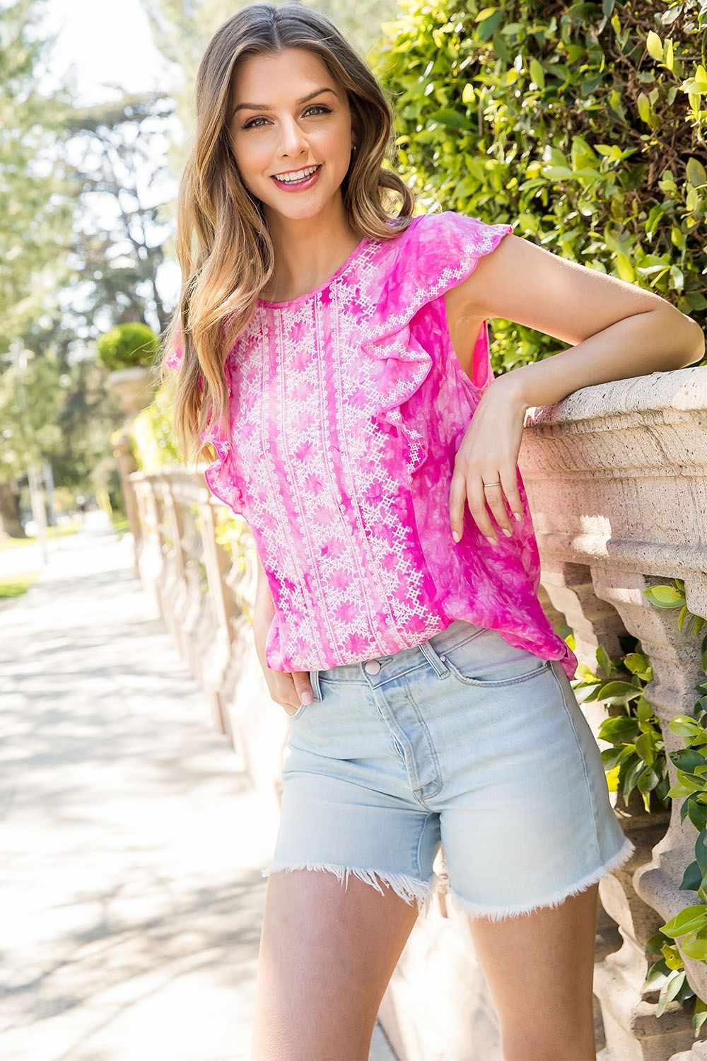 Embroidered Tie Dye Flutter Top from THML