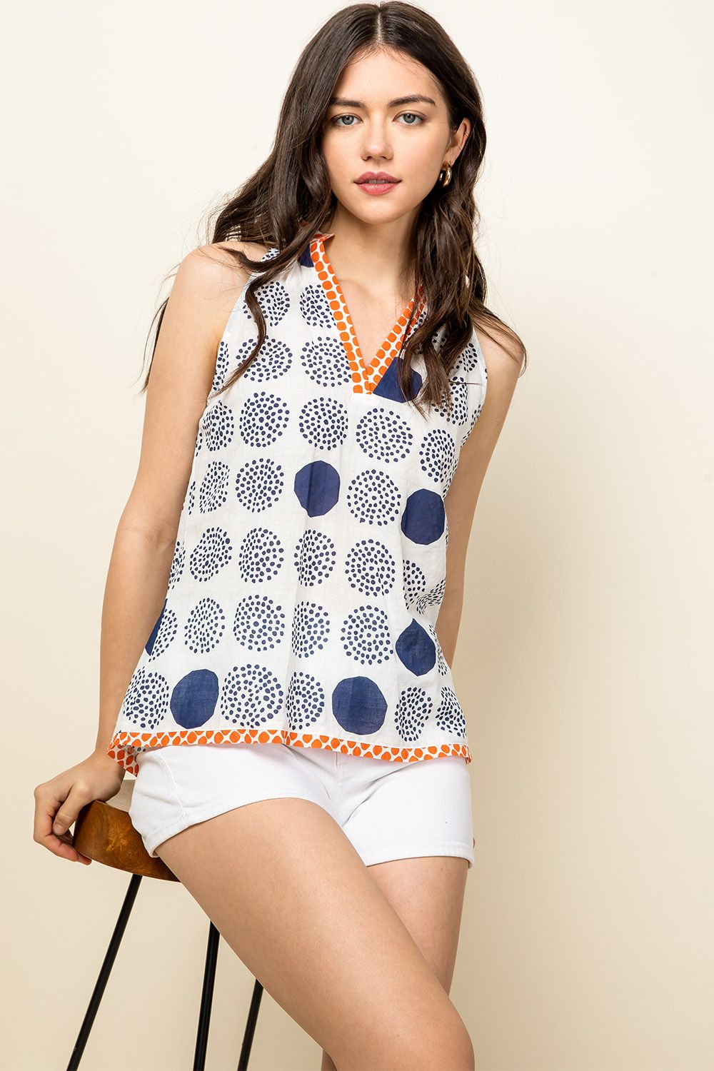Halter V-Neck Dotted Top from THML