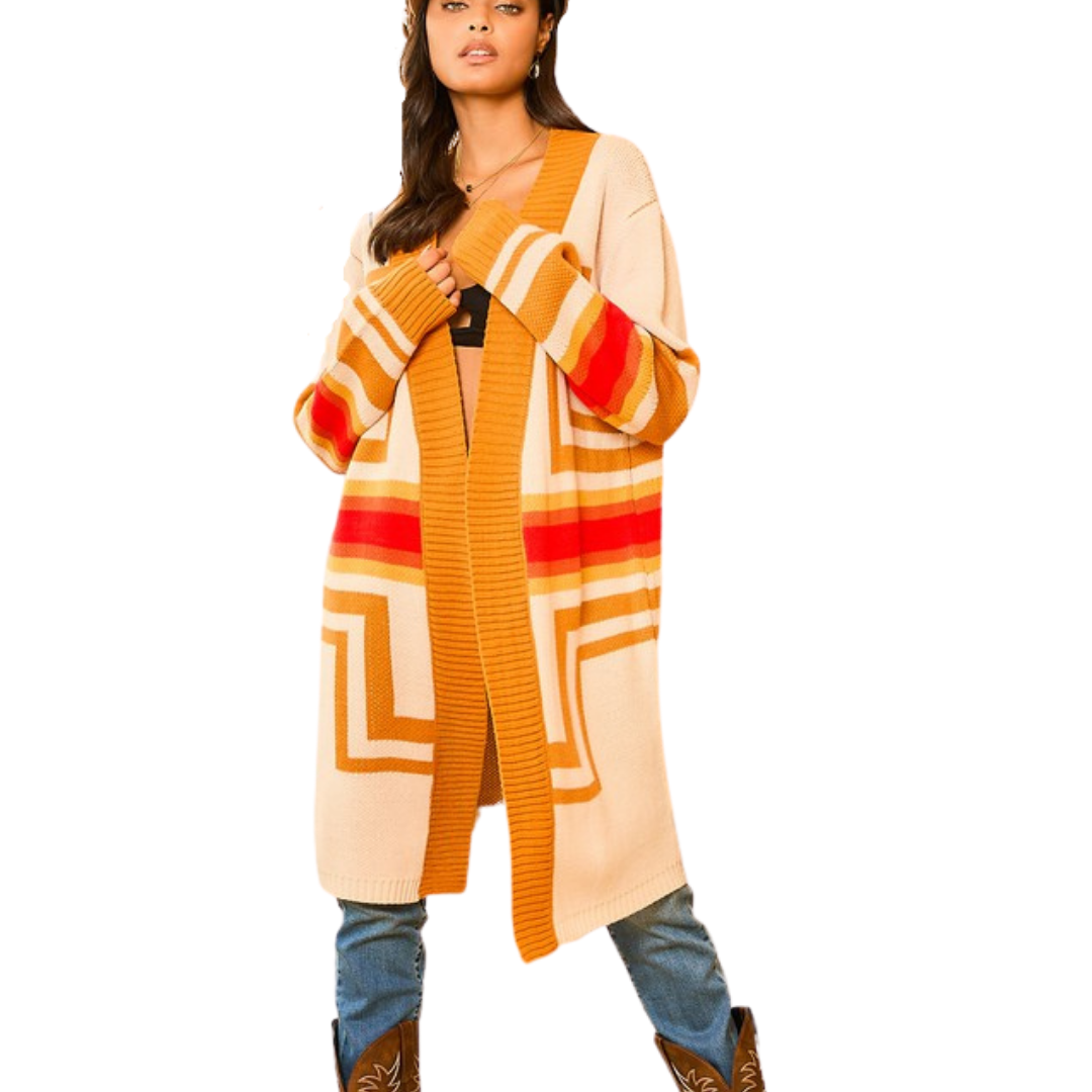 Aztec Open Long Cardigan