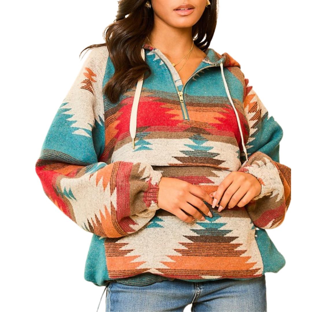 Aztec Print Pullover Hoodie