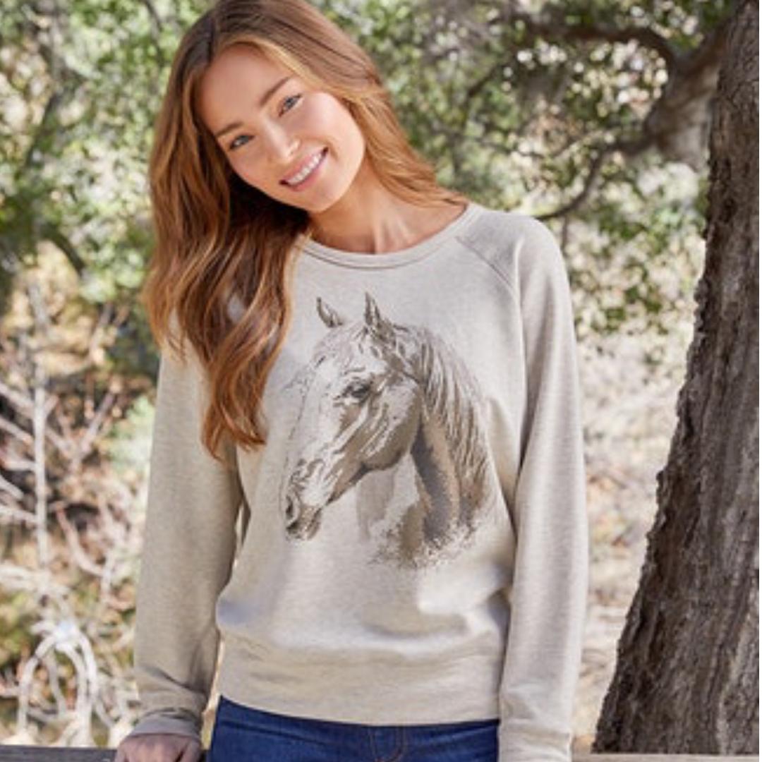 Horse Print Sweatshirt from Karen Kane