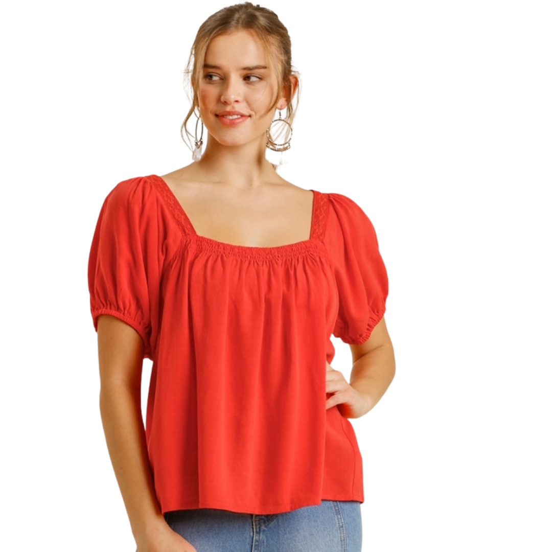 Square Neckline Puff Sleeve Top from Umgee