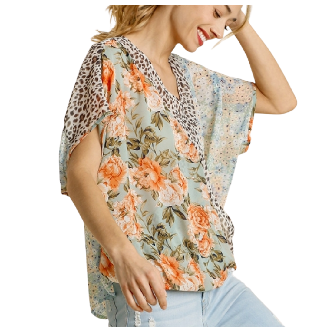 Printed Crossover Top from Umgee