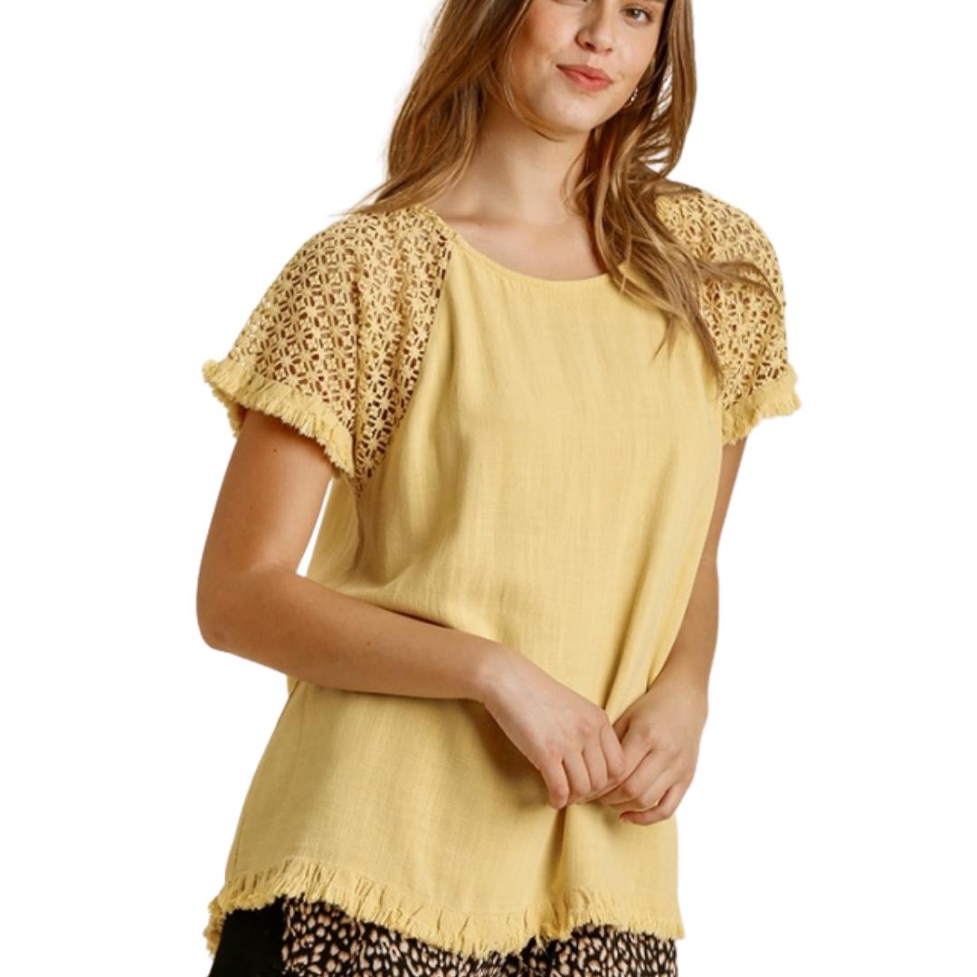 Linen Blend Floral Crochet Top from Umgee