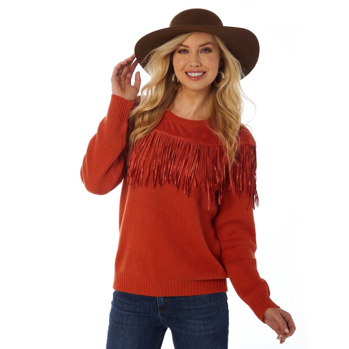 Faux Suede Fringe Yoke Sweater from Wrangler