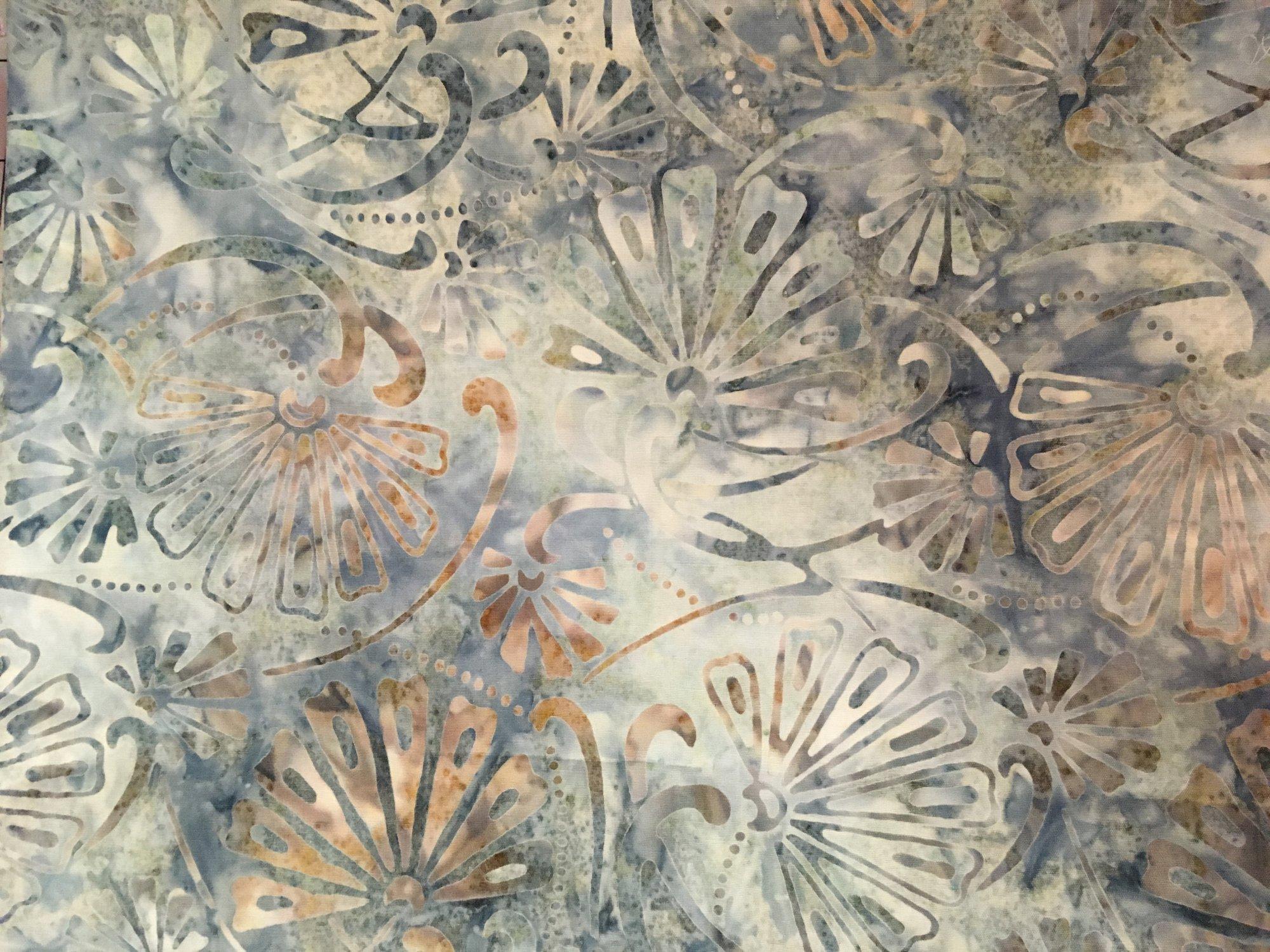 Batik Flat Fold Fanfare on Gray