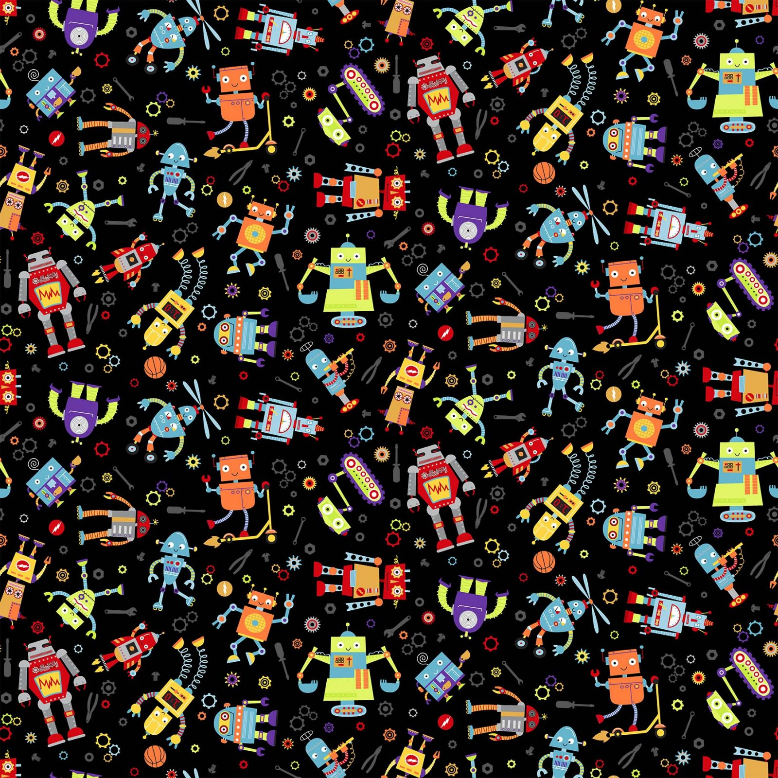 Rollicking Robots - Busy Bots - Black