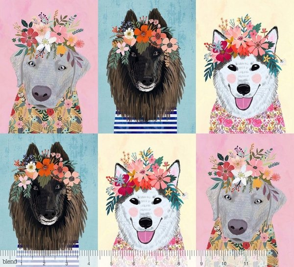 More Floral Pets - More Floral Puppies Multi  Panel 129.101.07.1