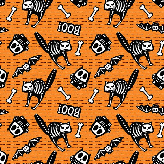 Glow Ghosts - Orange Tossed Bones of Motifs  9606G-33