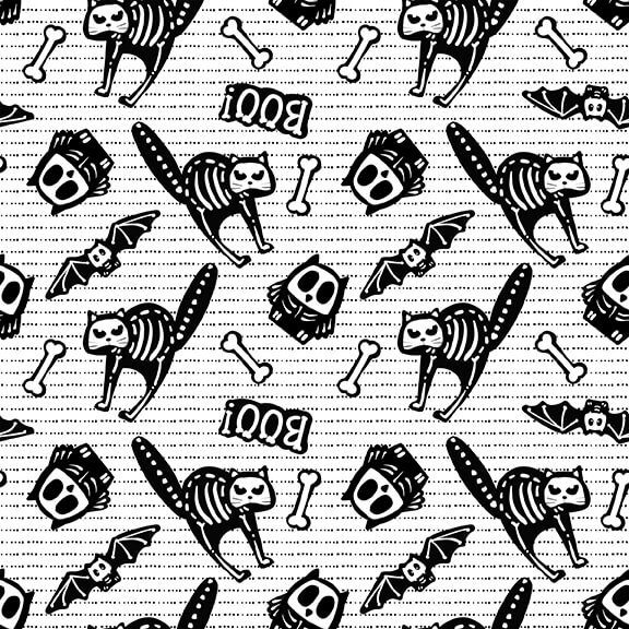 Glow Ghosts - Black and White Tossed Bones of Motifs 9606G-9