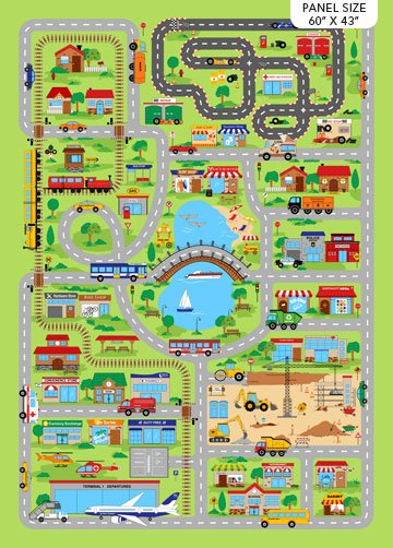 ALL AROUND TOWN GREEN MULTI PLAYMAT DP24242-74