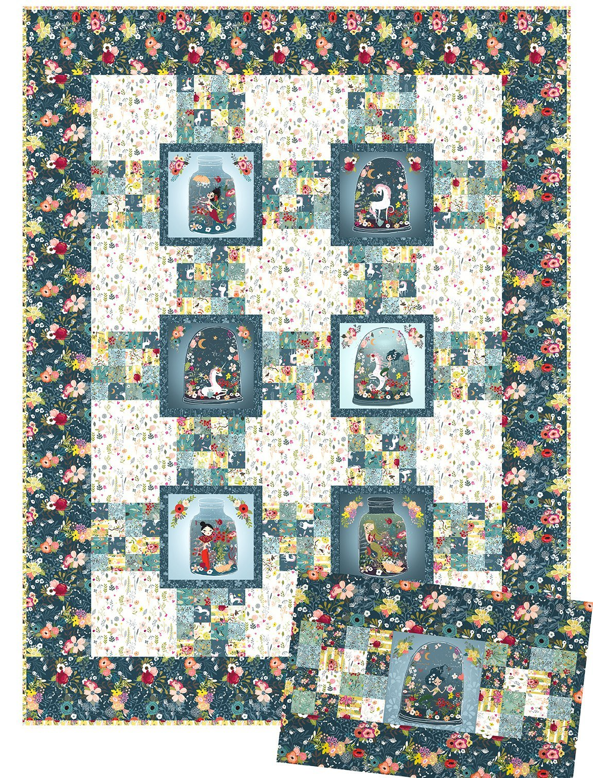 Mermaids and Unicorns Quilt by In The Beginning Fabrics