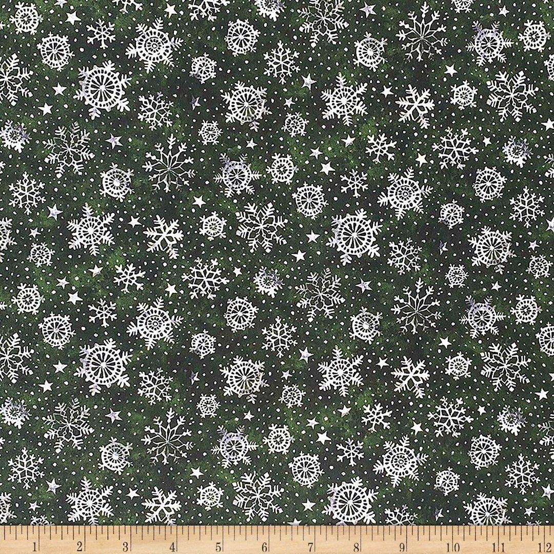 Noel Snowflakes Green
