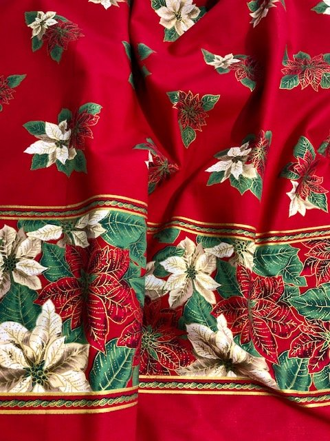 Red/Gold Pointsettia table cloth