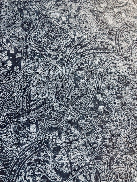 Wide Backing Navy Paisley 108
