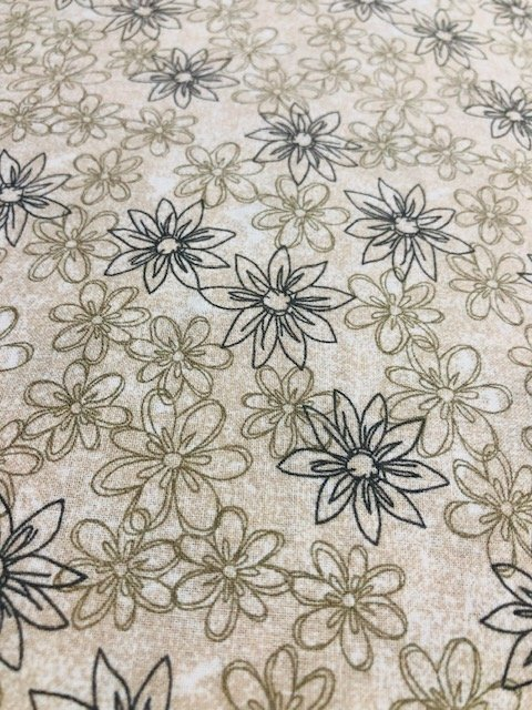 Wide Backing Taupe Flowers 108