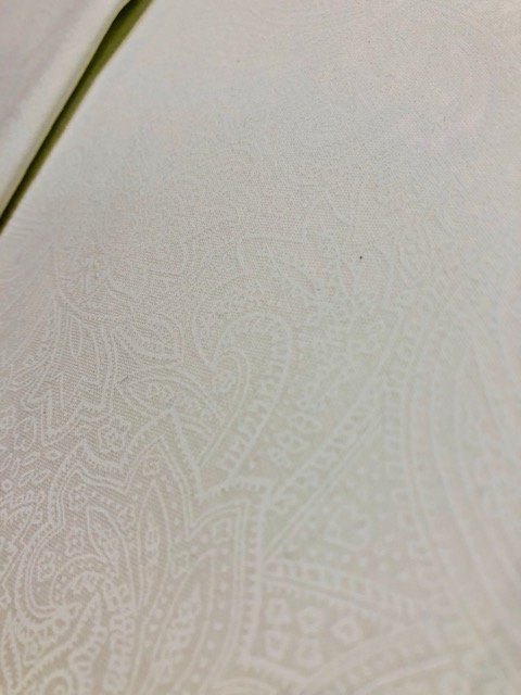 Wide Backing White on White Paisley 108