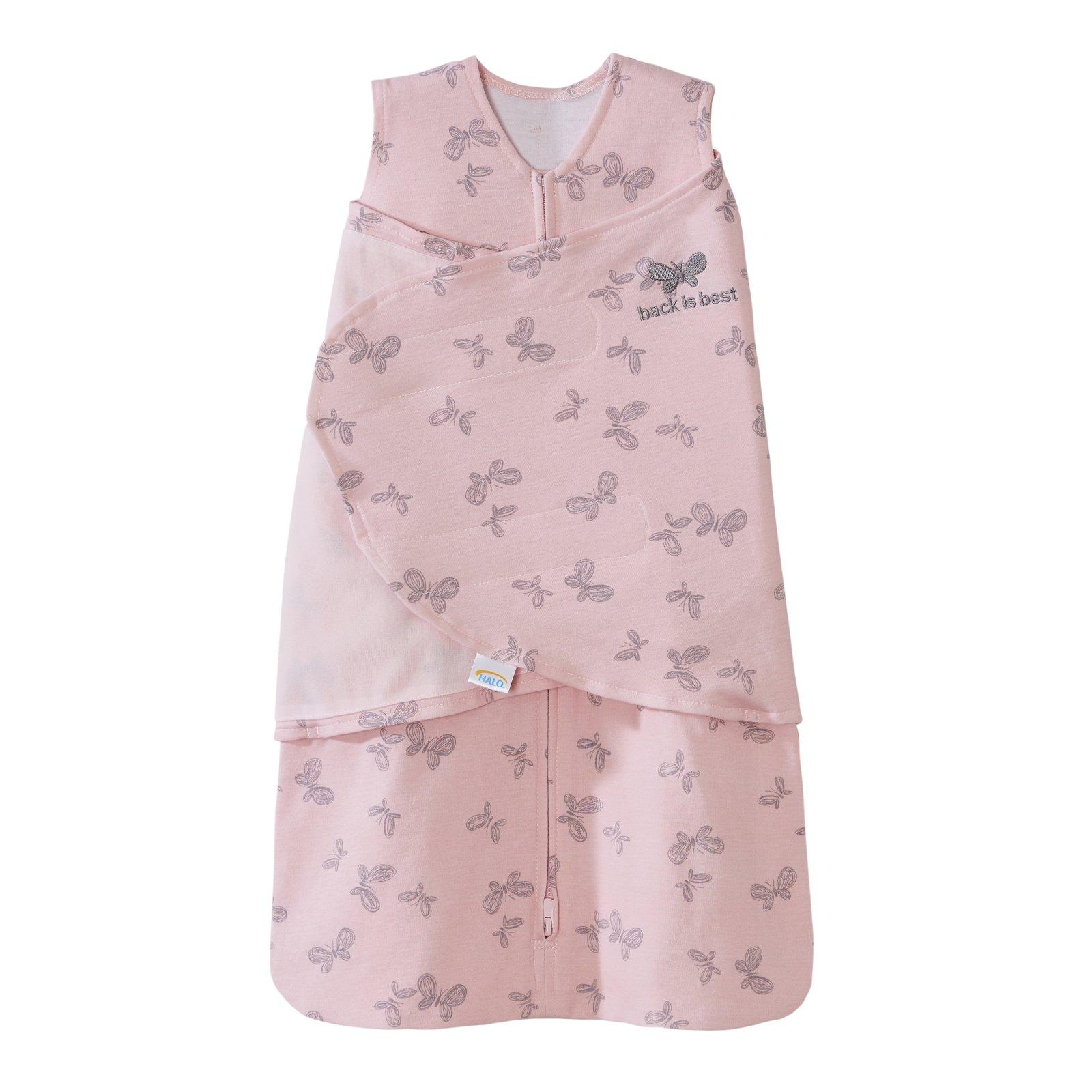 HALO SleepSack Swaddle cotton pink butterfly scribble nb