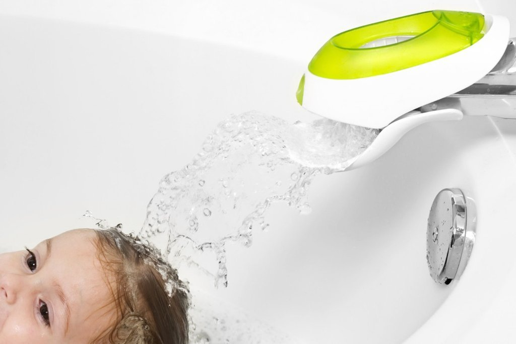 Boon FLO WATER DEFLECTOR & FAUCET COVER WITH BUBBLE DISPENSER GREEN