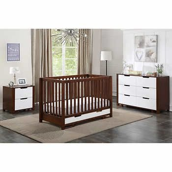 Cara Mia Ambry Crib, 6 Drawer Dresser and Night Stand - Coffee/White (CURBISDE PICK-UP ONLY)