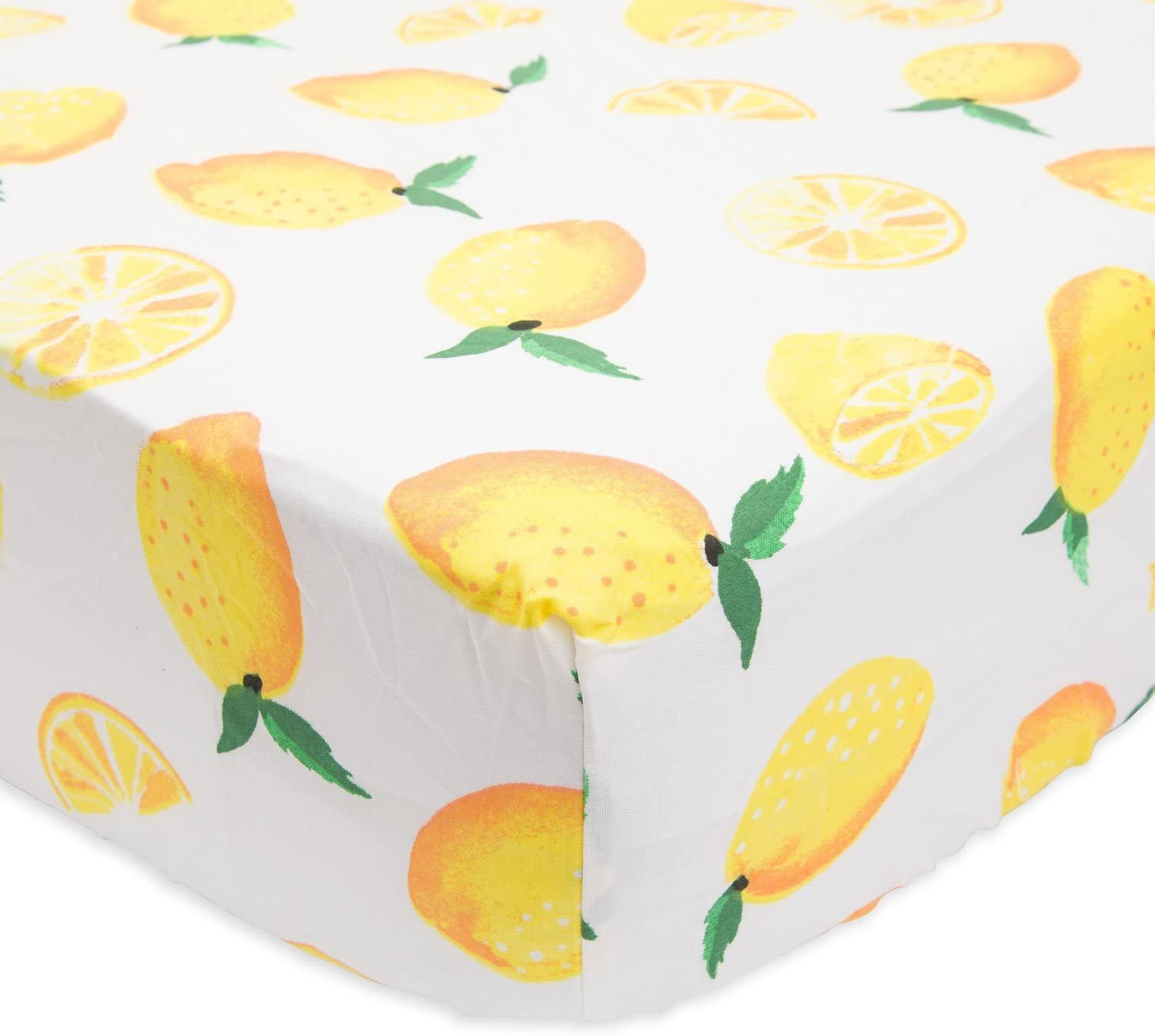 Little Unicorn Percale Crib Sheet - Lemon