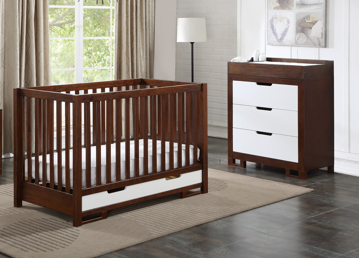 Cara Mia Ambry Crib and 3 Drawer Dresser Set - Coffee/White