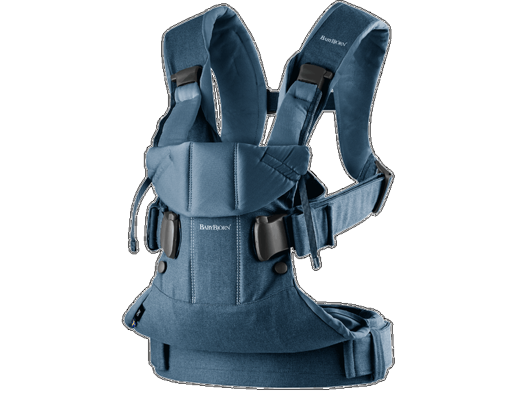 BABYBJORN Baby Carrier One, Cotton - Classic denim/Midnight blue