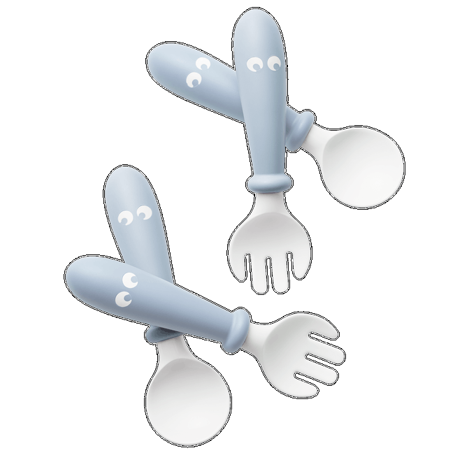 BABYBJORN Baby Spoon and Fork, 4 pcs Powder Blue