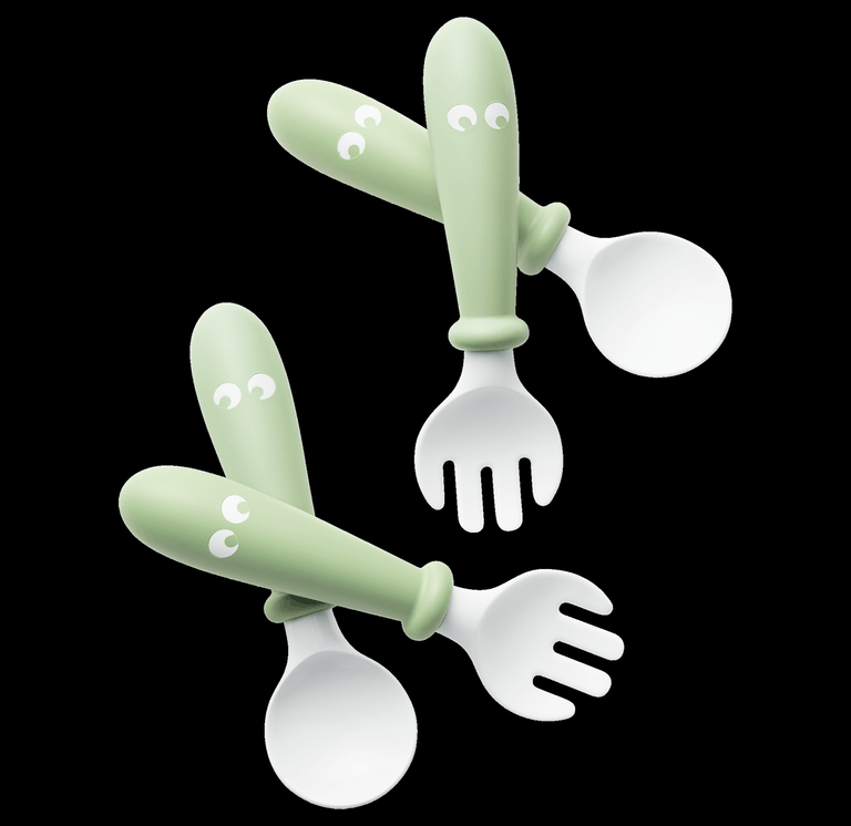 BABYBJORN Baby Spoon and Fork, 4 pcs Powder Green
