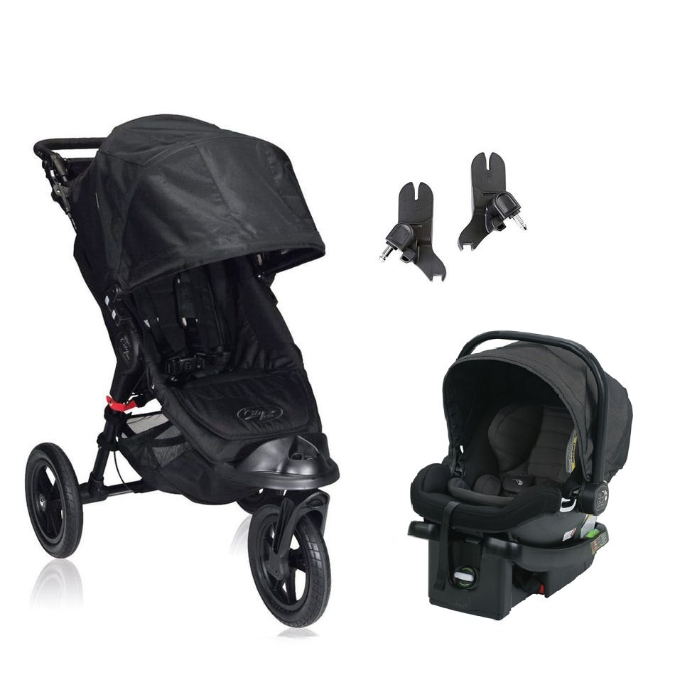 Baby Jogger City Elite Travel System -Black w/ City Go Car Seat - Charcoal