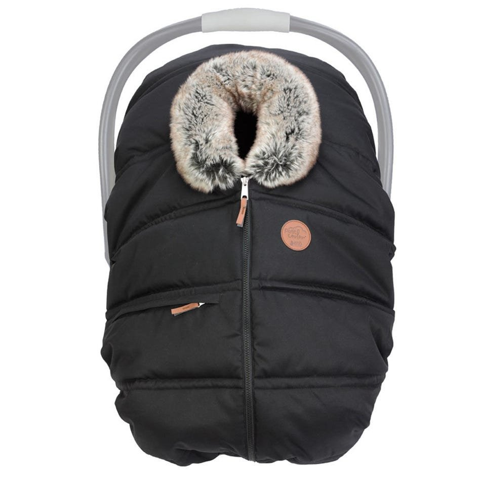 Petit Coulou Winter Baby Car Seat Cover -  Ebony Eco / wolf