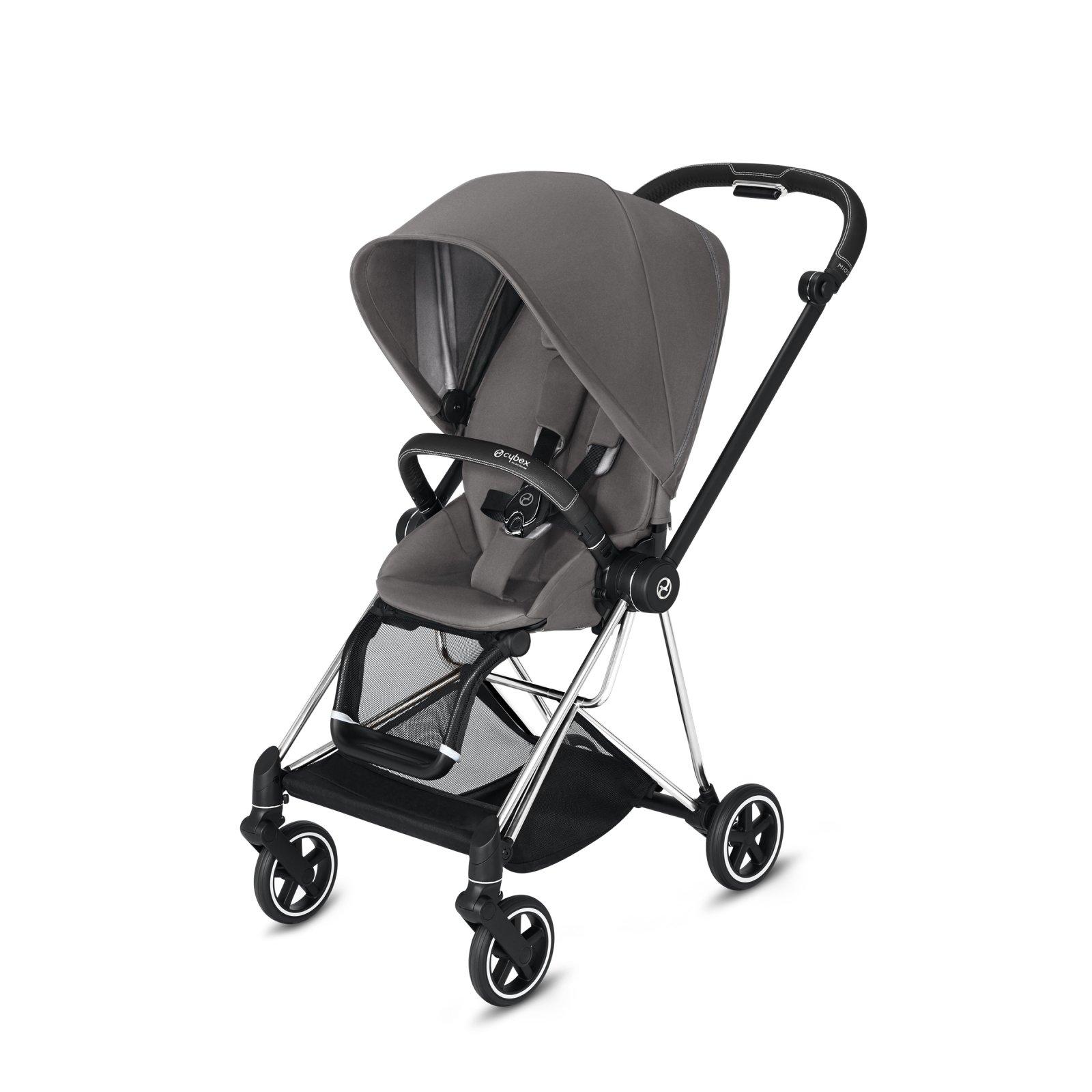 Cybex Mios Chrome/Black Frame with Manhattan Grey Seat Pack