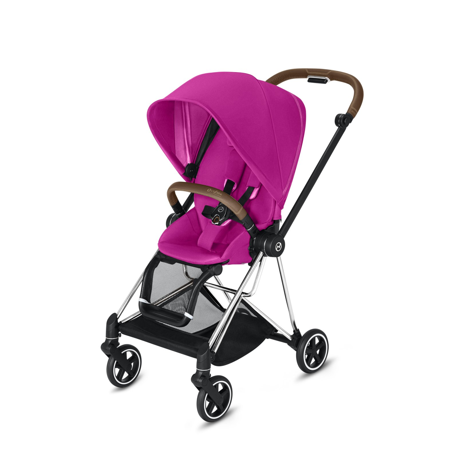 Cybex Mios Chrome/Brown Frame with Fancy Pink Seat Pack
