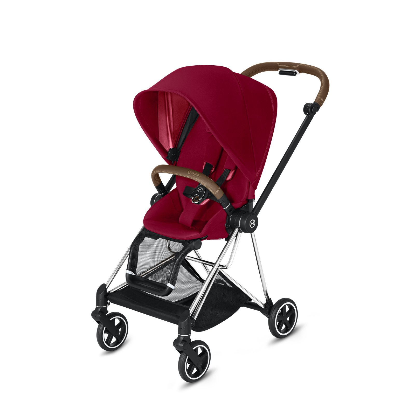 Cybex Mios Chrome/Brown Frame with True Red Seat Pack
