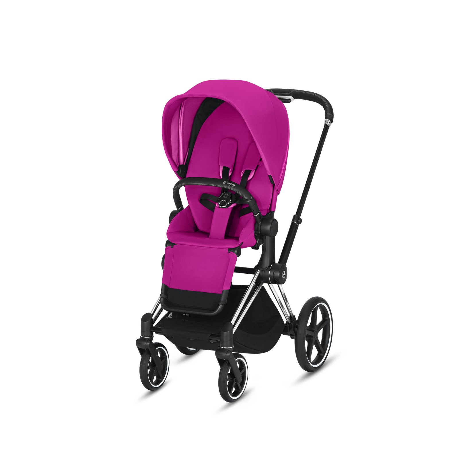 Cybex Priam Chrome/Black Frame with Fancy Pink Seat Pack