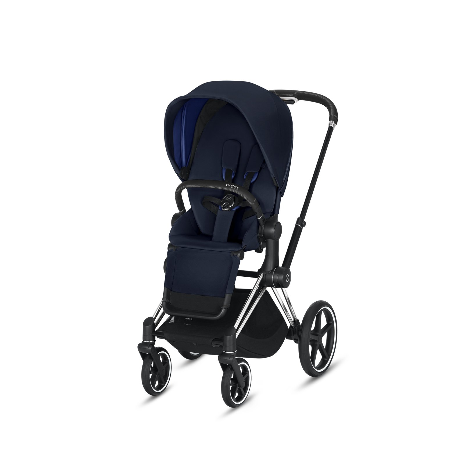 Cybex Priam Chrome/Black Frame with Indigo Blue Seat Pack