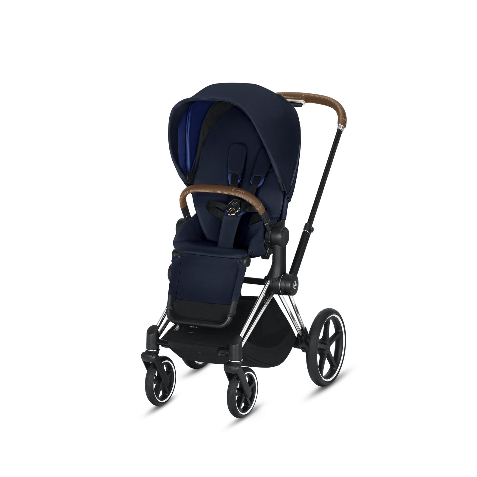 Cybex Priam Chrome/Brown Frame with Indigo Blue Seat Pack