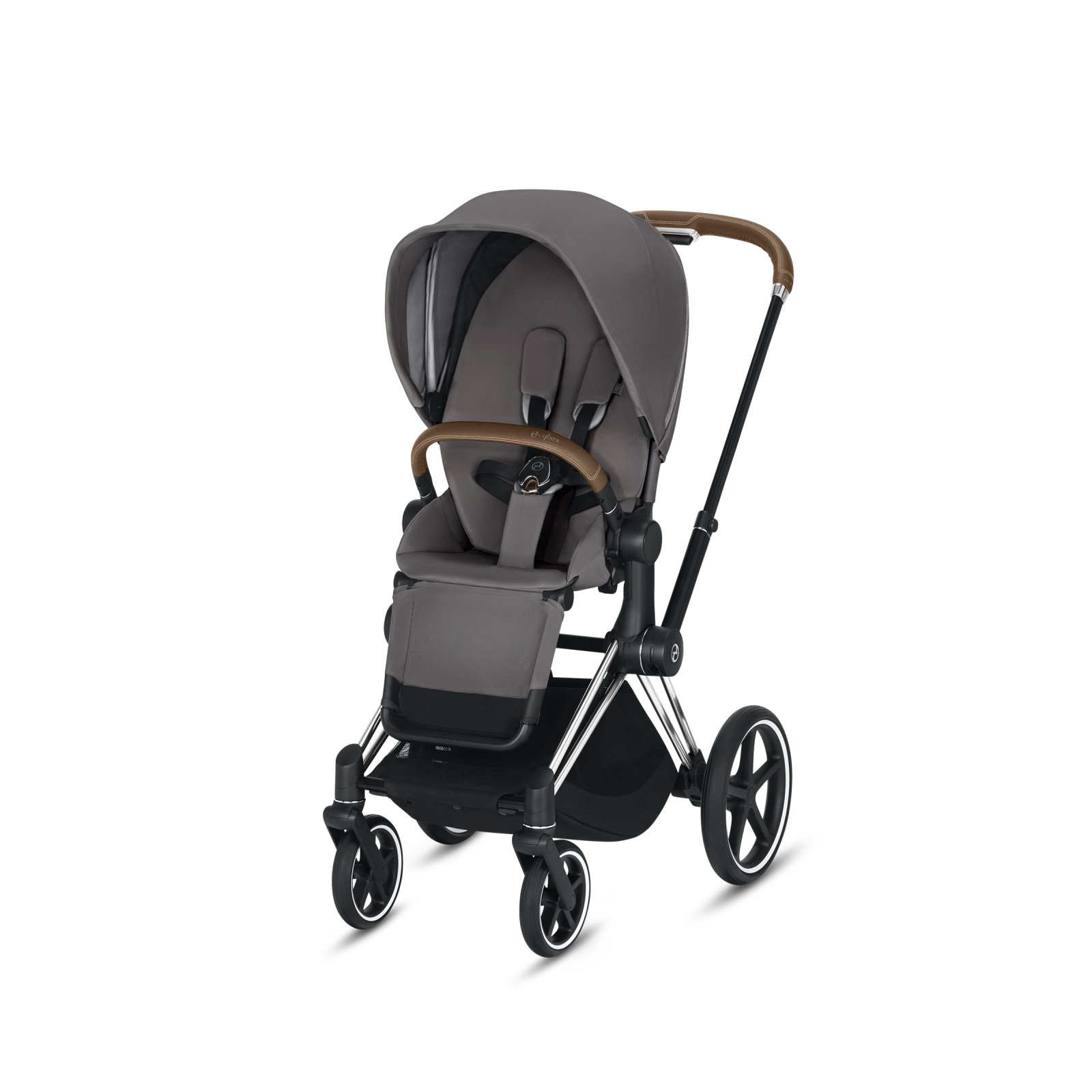 Cybex Priam Chrome/Brown Frame with Manhattan Grey Seat Pack