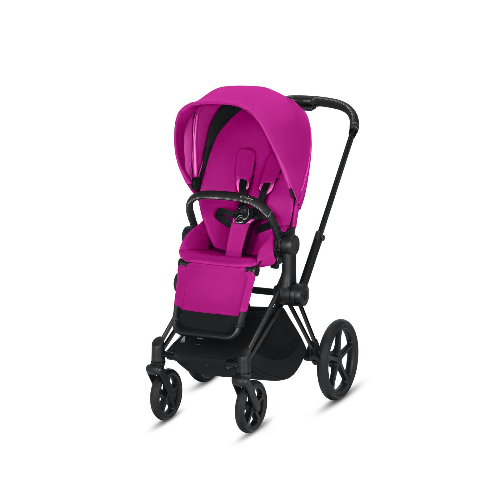 Cybex Priam Matte Black Frame with Fancy Pink Seat Pack