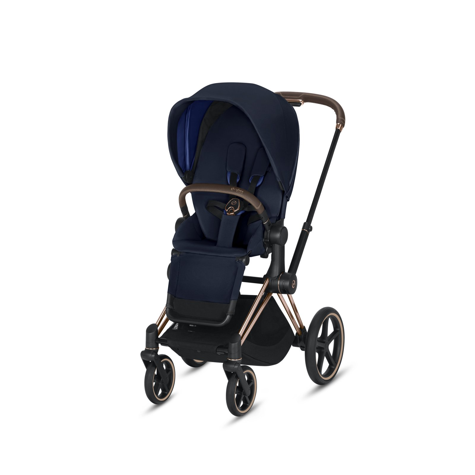Cybex Priam Rose Gold Frame with Premium Black Seat Pack