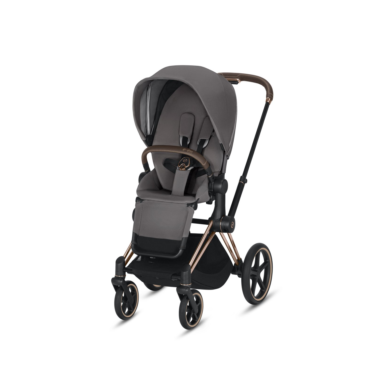 Cybex Priam Rose Gold Frame with Manhattan Grey Seat Pack