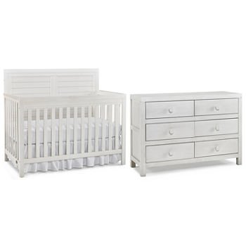 Ti Amo Castello Convertible Crib and 6 Drawer Dresser Set - Wirebrushed White (CURBISDE PICK-UP ONLY)